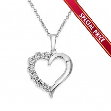 **Special Price** Wholesale Sterling Silver 925 Rhodium Plated Open CZ Heart Necklace - STP01584
