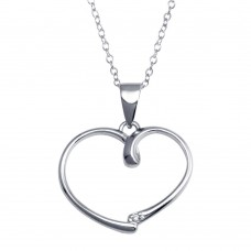 Wholesale Sterling Silver 925 Rhodium Plated Open Heart Necklace - STP01588