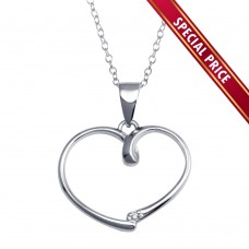 **Special Price** Wholesale Sterling Silver 925 Rhodium Plated Open Heart Necklace - STP01588