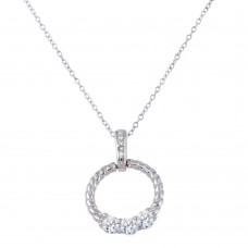 Wholesale Sterling Silver 925 Rhodium Plated Twisted Round Pendant with CZ - STP01589