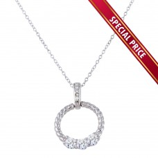 **Special Price** Wholesale Sterling Silver 925 Rhodium Plated Twisted Round Pendant with CZ - STP01589