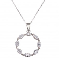 Wholesale Sterling Silver 925 Rhodium Plated Open Round CZ Necklace with CZ - STP01590