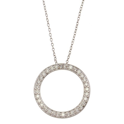 Wholesale Sterling Silver 925 Rhodium Plated Circle Pendant Necklace with CZ - STP01591