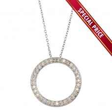 **Special Price** Wholesale Sterling Silver 925 Rhodium Plated Circle Pendant Necklace with CZ - STP01591