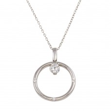 Wholesale Sterling Silver 925 Rhodium Plated Ring Necklace with CZ - STP01592