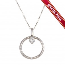 **Special Price** Wholesale Sterling Silver 925 Rhodium Plated Ring Necklace with CZ - STP01592