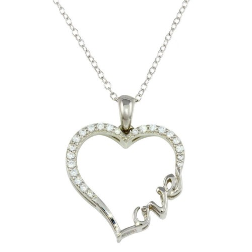 Wholesale Sterling Silver 925 Rhodium Plated Heart and Love Word Necklace with CZ - STP01596