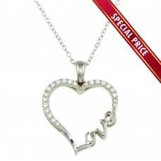 **Special Price** Wholesale Sterling Silver 925 Rhodium Plated Heart and Love Word Necklace with CZ - STP01596