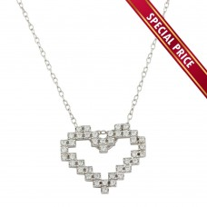 **Special Price** Wholesale Sterling Silver 925 Rhodium Plated Digital Heart Necklace with CZ - STP01614