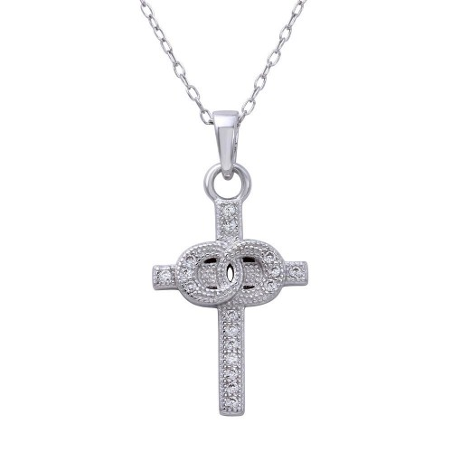 Wholesale Sterling Silver 925 Rhodium Plated Small Cross Pendant with Linked Rings Center and CZ - STP01615