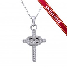 **Special Price** Wholesale Sterling Silver 925 Rhodium Plated Small Cross Pendant with Linked Rings Center and CZ - STP01615