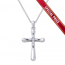 **Special Price** Wholesale Sterling Silver 925 Rhodium Plated Cross Pendant with Mini CZ Cross Center - STP01616