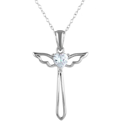 Wholesale Sterling Silver 925 Rhodium Plated  Heart and Wings Cross Necklace with CZ - STP01618