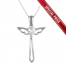 **Special Price** Wholesale Sterling Silver 925 Rhodium Plated  Heart and Wings Cross Necklace with CZ - STP01618