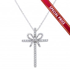 **Special Price** Wholesale Sterling Silver 925 Rhodium Plated Ribbon Cross Pendant Necklace with CZ - STP01619