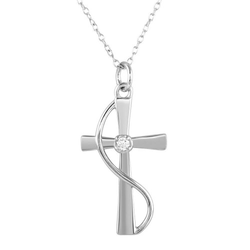 Wholesale Sterling Silver 925 Rhodium Plated Wrapped Cross Pendant Necklace with CZ - STP01620