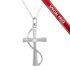 **Special Price** Wholesale Sterling Silver 925 Rhodium Plated Wrapped Cross Pendant Necklace with CZ - STP01620
