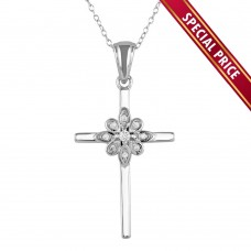 **Special Price** Wholesale Sterling Silver 925 Rhodium Plated Cross and Flower Pendant Necklace with CZ - STP01621
