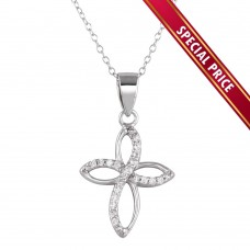 **Special Price** Wholesale Sterling Silver 925 Rhodium Plated Open Cross Pendant Necklace with CZ - STP01622