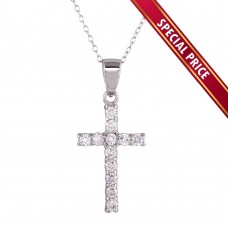 **Special Price** Wholesale Sterling Silver 925 Rhodium Plated CZ Cross Pendant Necklace - STP01624