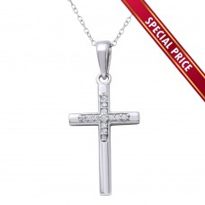 **Special Price** Wholesale Sterling Silver 925 Rhodium Plated Small Cross Pendant Necklace - STP01625