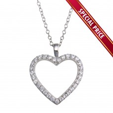 **Special Price** Wholesale Sterling Silver 925 Rhodium Plated CZ Open Heart Necklace - STP01668
