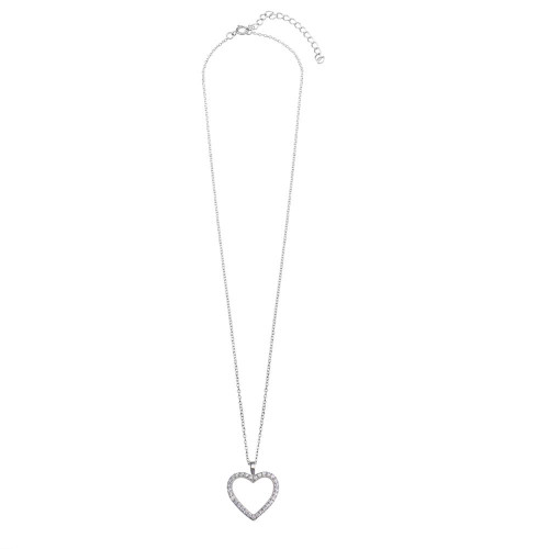 Wholesale Sterling Silver 925 Rhodium Plated CZ Open Heart Necklace - STP01668