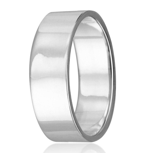 Wholesale Sterling Silver 925 Plain Wedding Band Flat Ring - RING02-8MM
