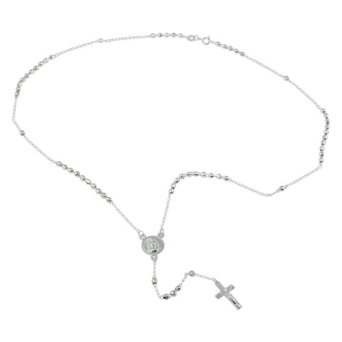 Wholesale Sterling Silver 925 High Polished Diamond Cut Bead Rosary Necklace 3mm - ROS02-3MM