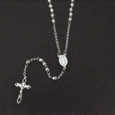 Sterling Silver High Polished Diamond Cut Rosary 4mm - ROS14-4MM