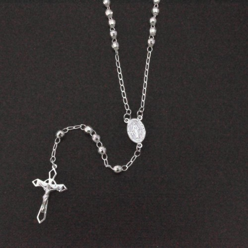 Wholesale Sterling Silver 925 High Polished Diamond Cut Rosary 4mm - ROS14-4MM