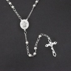Sterling Silver High Polished Diamond Cut Rosary 5mm - ROS19-5MM