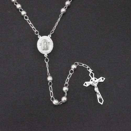 Wholesale Sterling Silver 925 High Polished Diamond Cut Rosary 5mm - ROS19-5MM