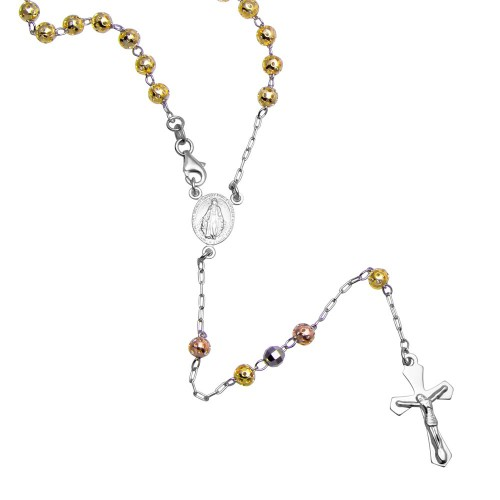 Wholesale Sterling Silver 925 High Polished 3 Toned Filigree and Diamond Cut Bead Rosary 5mm - ROS22-5MM