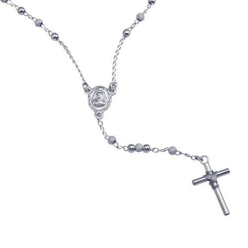 Wholesale Sterling Silver 925 Rhodium Plated Alternating Glittered and Plain Beads Rosary Necklace - RS06RH-B-3MM