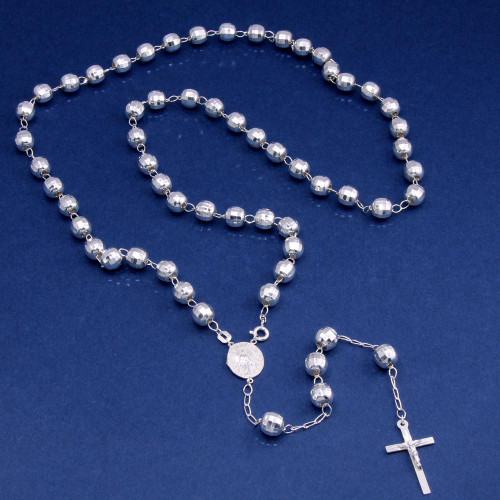 Wholesale Sterling Silver 925 Diamond Cut Beads Rosary Necklace 8mm - ROS29-8MM