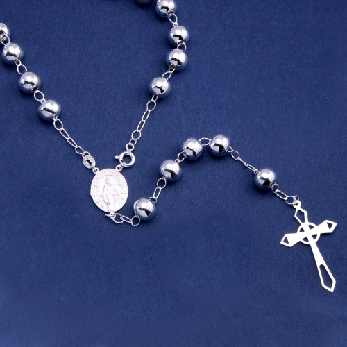 Wholesale Sterling Silver 925 High Polished Cross Rosary 8mm - ROS30-8MM
