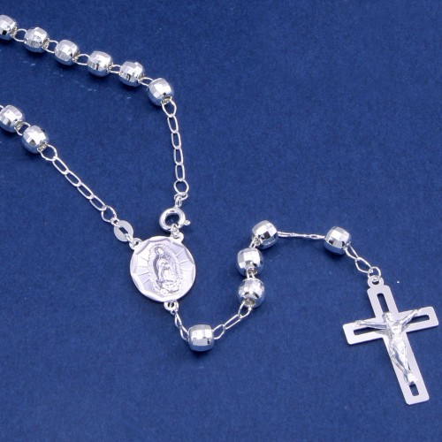 Wholesale Sterling Silver 925 High Polished 6MM Diamond Cut Beads Rosary - ROS33-6MM