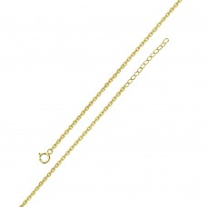 Wholesale Sterling Silver 925 Gold Plated Adjustable Extension Chain 1.25mm - S030GP-SPRING
