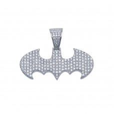Wholesale Sterling Silver 925 Rhodium Plated Bat Hip Hop Pendant - SLP00089