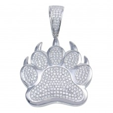 Wholesale Sterling Silver 925 Rhodium Plated Bear Paw Hip Hop Pendant - SLP00091