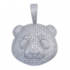 Wholesale Sterling Silver 925 Rhodium Plated Bear Head Hip Hop Pendant - SLP00093
