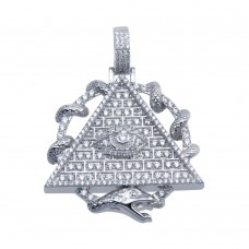 Wholesale Sterling Silver 925 Rhodium Plated CZ Pyramid Eye Hip Hop Pendant - SLP00094