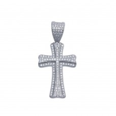 Wholesale Sterling Silver 925 Rhodium Plated Small Double Cross CZ Hip Hop Pendant - SLP00095