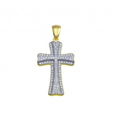 Wholesale Sterling Silver 925 Gold Plated Small Double Cross CZ Hip Hop Pendant - SLP00095GP