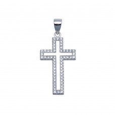 Wholesale Sterling Silver 925 Rhodium Plated CZ Border Small Cross Hip Hop Pendant - SLP00096