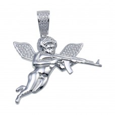 Wholesale Sterling Silver 925 Rhodium Plated CZ AK Angel Hip Hop Pendant - SLP00097