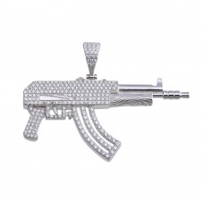 Wholesale Sterling Silver 925 Rhodium Plated CZ Gun Hip Hop Pendant - SLP00098