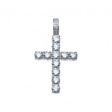 Wholesale Sterling Silver 925 Rhodium Plated CZ Cross Hip Hop Pendant - SLP00099