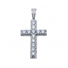 Wholesale Sterling Silver 925 Rhodium Plated CZ Crown Set Cross Hip Hop Pendant - SLP00101